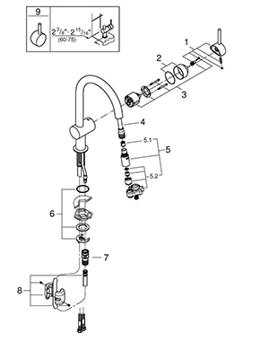 Grohe 31378DC0 - Parts Breakdown